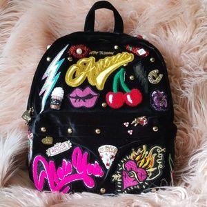 Black velvet Betsey Johnson embellished backpack